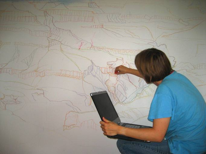 Wandbilder Selber Malen Welche Farben : Ein Wandbild entsteht Grand Canyon  Forum für Freunde der Hobby